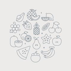 fruits line icon circle set