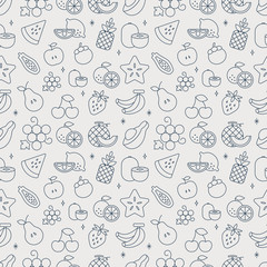 fruits line icon pattern set