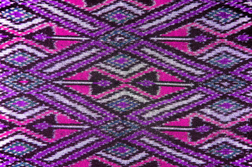 Pattern of Thai Hand Woven Cotton Fabric for Clothing and Home Decoration.
