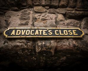 Ancient Street Sign In Edinburgh Scotland