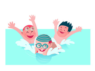 kids enjoy playing together in swimming pool vector illustration