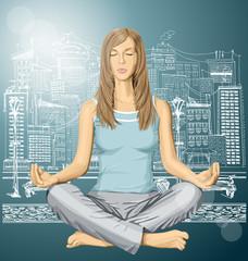 Vector woman meditating in lotus pose