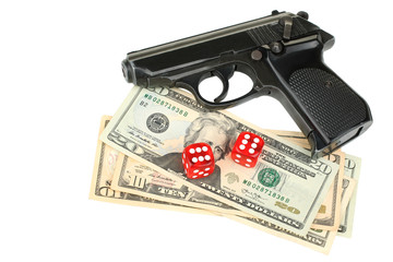 dice, gun and money