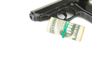 gun and money isolated