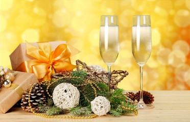 New. New Year and Christmas Celebration. Two Champagne Glasses