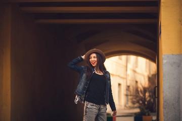 portrait of a beautiful brunette in a jacket