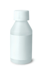 White plastic medicine bottle with blank label