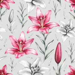 Seamless pattern with drawings of lily flowers