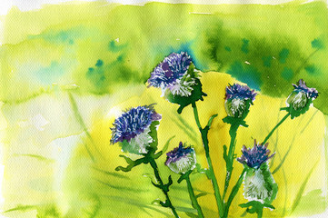 Poster Painterly Inspiration watercolor illustration depicting spring flowers in the meadow