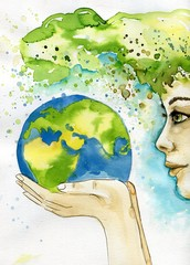 Photo sur Toile Inspiration painterly watercolor illustration depicting the earth