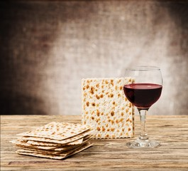 Matzoh. Passover background. wine and matzoh (jewish passover