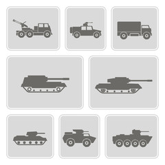 set of monochrome icons with army vehicle for your design
