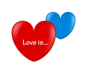 ballon hearts red and blue love is
