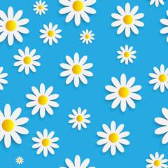 Flora Daisy Seamless Pattern Design Vector Illustartion
