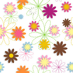 Flora Flower Seamless Pattern Design Vector Illustartion