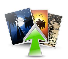 Upload photos icon. Vector illustration