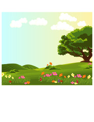 Poster Forest animals landscape of green meadow with colourful flowers