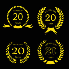 twenty years anniversary laurel gold wreath - 20 years set