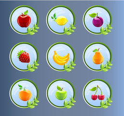 Fruit Icons, fruit labels