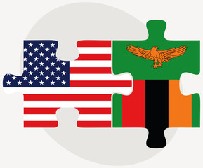 USA and Zambia Flags in puzzle