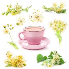 Pink cup of tea and Linden flowers isolated on white background