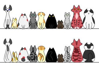 猫 一列 正面 背面 コピースペース セット