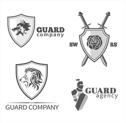Guard symbols and emblems set. Vector
