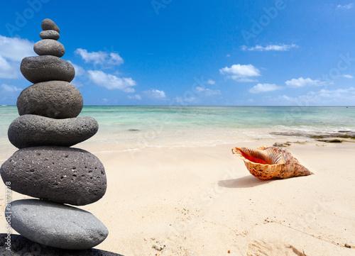 galets zen et coquillage sur plage de maurice photo libre de droits sur la banque d 39 images. Black Bedroom Furniture Sets. Home Design Ideas