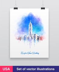 New York City skyline with urban skyscrapers. Vector