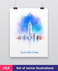 New York City skyline with urban skyscrapers. Vector