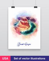 Watercolor Grand Canyon, Arizona, USA. Vector