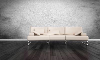 Modern White Sofa in Empty Room