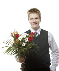 pupil of senior classes in school uniform with bouquet flowers..