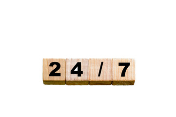 Numbers 24/7  isolated over white