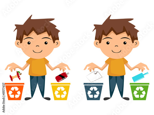 """""""Child Recycling, Cartoon Character"""" Stock Image And"""