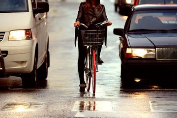 Fototapete - Bike in evening, close-up