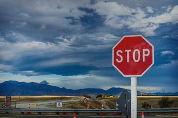 roadside red stop sign