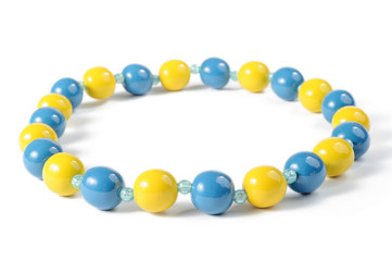 Blue and yellow beads