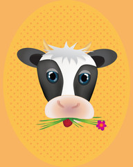 Poster Ranch Cute cow with flower with retro pattern