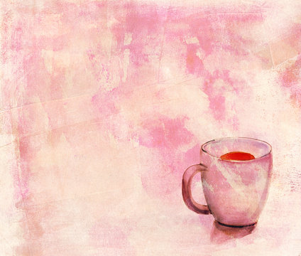 Watercolour tea cup with distressed background texture