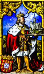 Sintra, Portugal - King Manuel First on vitrage window icon in P