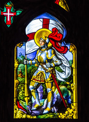 SINTRA, PORTUGAL: Saint George - vitrage window icon in Pena Pal