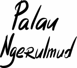 Palau, Ngerulmud, hand-lettered