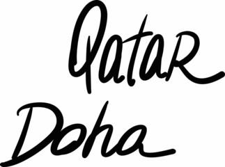 Qatar, Doha, hand-lettered