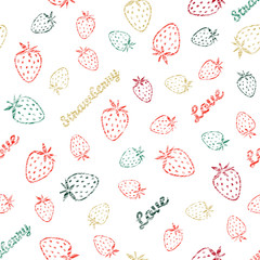 Seamless pattern with scratched Strawberries, summer harvest bac