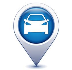 Fototapete - voiture sur marqueur géolocalisation bleu