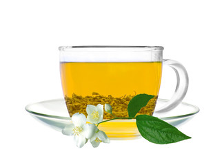 Transparent cup of green tea and jasmine flower isolated on whit
