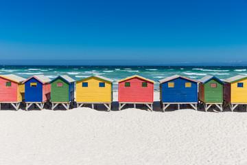 Staande foto Zuid Afrika Bath houses in Muizenberg, Cape Town