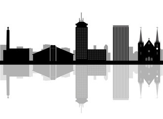 Fresno California skyline Detailed vector silhouette