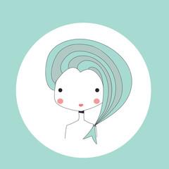 Horoscope Pisces sign, girl head